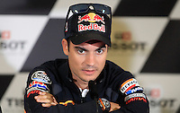 Honda MotoGP rider Dani Pedroza of Spain gestures during the official press conference ahead of the Australian Grand Prix in Phillip Island near Melbourne October 17, 2013. IMAGE RESTRICTED TO EDITORIAL USE ONLY- STRICTLY NO COMMERCIAL USE. Photo by Daniel Munoz/VIEWpress