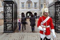 Life Guard on duty, Horse Guards building, 1751 - 1753, by John Vardy and William Kent, London, UK. Picture by Manuel Cohen