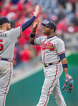 4 April 2014: Atlanta Braves outfielder Justin Upton gets high fives after the Washington Nationals Home Opening Game at Nationals Park in Washington, DC. The Braves edged out the Nationals 2-1 in their first meeting of the 2014 MLB season. Mandatory Credit: Ed Wolfstein Photo *** RAW (NEF) Image File Available ***