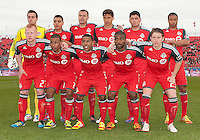 14 April 2012: The starting eleven of Toronto FC during a game between Chivas USA and Toronto FC at BMO Field in Toronto..Chivas USA won 1-0..