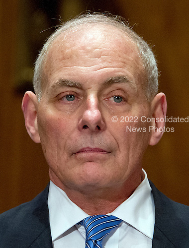 General John F. Kelly, USMC (Retired) as he waits to testify before the United States Senate Committee on Homeland Security and Governmental Affairs confirmation hearing on his nomination to be Secretary, US Department of Homeland Security on Capitol Hill in Washington, DC on Tuesday, January 10, 2017.<br /> Credit: Ron Sachs / CNP