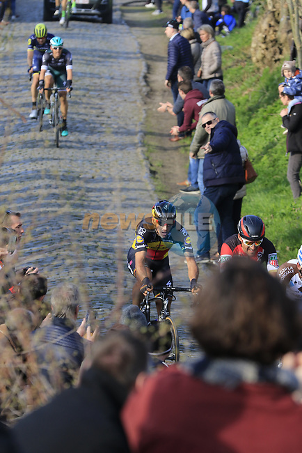 Philippe Gilbert (BEL) Quick-Step Floors climbs Oude Kwaremont during the 60th edition of the Record Bank E3 Harelbeke 2017, Flanders, Belgium. 24th March 2017.<br /> Picture: Eoin Clarke | Cyclefile<br /> <br /> <br /> All photos usage must carry mandatory copyright credit (&copy; Cyclefile | Eoin Clarke)