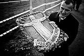 Swiebodzin 21.11.2010 Poland<br /> People in crowds gather at the memorial of christ to attend the official dedication of the largest Jesus Christ statue in the world's.<br /> A giant statue of Jesus Christ is seen in Swiebodzin, 110 km (68 miles) west of Poznan, western Poland. A statue of Jesus Christ that its builders say will be the largest in the world is rising from a Polish cabbage field and local officials hope it will become a beacon for tourists.<br /> Photo: Adam Lach / Newsweek Polska / Napo Images<br /> <br /> Ludzie tlumnie gromadza sie pod pomnikiem chrystusa by wziac udzial w oficjalnym poswieceniu najwiekszej statuy na swiecie.<br /> Najwiekszy na swiecie posag Jezusa Chrystusa. Ufundowal go lokalny ksiadz w Swiebodzinie, Sylwester Zawadzki.<br /> Fot: Adam Lach / Newsweek Polska / Napo Images
