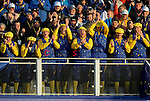 European fans sing on the first tee<br /> <br /> Photographer Ian Cook/CameraSport<br /> <br /> International Golf - 2014 Ryder Cup - Day 1 - Friday 26th September 2014 - PGA Centenary Course - Gleneagles Hotel - Auchterarder, Scotland<br /> <br /> &copy; CameraSport - 43 Linden Ave. Countesthorpe. Leicester. England. LE8 5PG - Tel: +44 (0) 116 277 4147 - admin@camerasport.com - www.camerasport.com