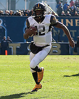 WVU quarterback Geno Smith. The WVU Mountaineers defeated the Pitt Panthers 35-10 at Heinz Field, Pittsburgh, Pennsylvania on November 26, 2010.