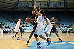 14 November 2012: Georgetown's Sydney Wilson (13) is defended by North Carolina's Krista Gross (21). The University of North Carolina Tar Heels played the Georgetown University Hoyas at Carmichael Arena in Chapel Hill, North Carolina in an NCAA Division I Women's Basketball game, and a semifinal in the Preseason WNIT. UNC won the game 63-48.