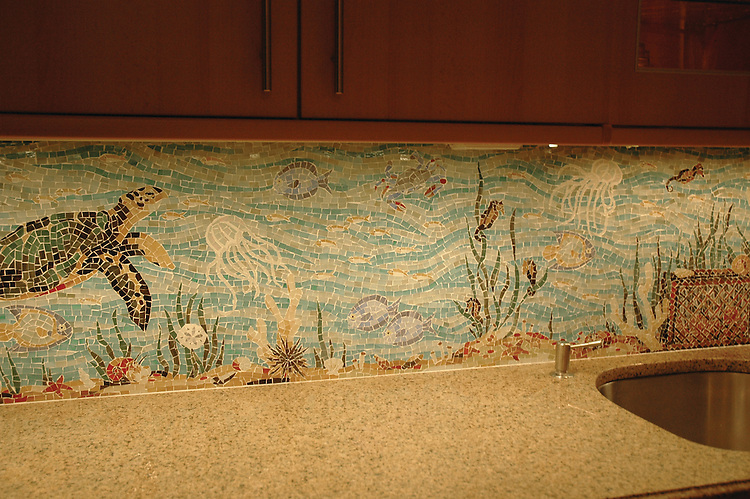 Custom Sea LifeGlass backsplash in Oceanside glass