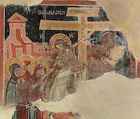 Fresco of the Descent from the Cross, painted c. 1649, in the Church of Saints Constantine and Helen, built 1644, inside Berat Castle or Kalaja e Beratit, in Berat, South-Central Albania, capital of the District of Berat and the County of Berat. Picture by Manuel Cohen