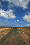 Empty road and white clouds, Fuerteventura, Canary Islands, Spain,