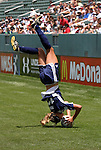 """27 June 2004: Kim Pickup demonstrates her """"Pick-Flip"""" flip throw-in during the game. The San Diego Spirit defeated the Carolina Courage 2-1 at the Home Depot Center in Carson, CA in Womens United Soccer Association soccer game featuring guest players from other teams."""