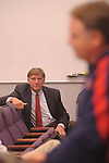 "Ole Miss athletic director Pete Boone listens as head coach football coach Houston Nutt speaks about the football program during a press conference in Oxford, Miss. on Monday, Sept. 19, 2011. Ole Miss has started the season 1-2, including a 30-7 loss to Vanderbilt on Saturday, Sept. 17, 2011 that Boone termed ""unacceptable."""