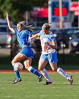 Chicago Red Stars forward Michele Weissenhofer (11) tackles Boston Breakers defender Taryn Hemmings (25).  The Boston Breakers beat the Chicago Red Stars 1-0 at Dilboy Stadium.