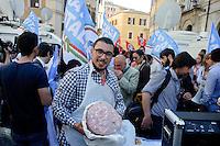 Roma 19 Aprile 2013.Proteste davanti a Montecitorio  dei partiti del centro-destra per la candidatura di Romano Prodi alla Presidenza della Repubblica da parte del Partito Democratico. Mortadella anti Prodi