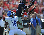 Ole Miss wide receiver Markeith Summers (16) outjumps Kentucky's Martavius Neloms (15) for the ball, but loses control of it on the way to the ground for an incomplete pass, at Vaught-Hemingway Stadium in Oxford, Miss. on Saturday, October 2, 2010. Ole Miss won 42-35 to improve to 3-2..