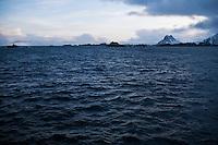 Stormy waters near Stamsund harbor, Vestvågøy, Lofoten islands, Norway