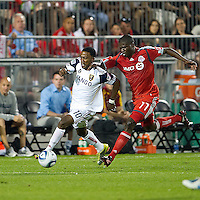 August 28 2010 Real Salt Lake forward Robbie Findley #10 and Toronto FC forward O'Brian White #17 in action during a game between Real Salt Lake and Toronto FC at BMO Field in Toronto..The game ended in a 0-0 draw.
