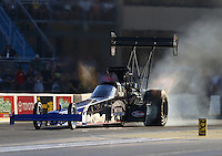 Jul 8, 2016; Joliet, IL, USA; NHRA top fuel driver Pat Dakin during qualifying for the Route 66 Nationals at Route 66 Raceway. Mandatory Credit: Mark J. Rebilas-USA TODAY Sports