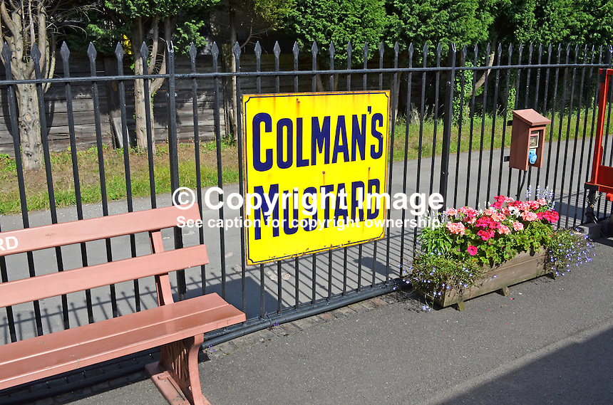 Logo, signage, Colman's Mustard, Bishops Lydeard, West Somerset Railway, UK, July, 2014, 201407093442<br /> <br /> Copyright Image from Victor Patterson, 54 Dorchester Park, Belfast, UK, BT9 6RJ<br /> <br /> Tel: +44 28 9066 1296<br /> Mob: +44 7802 353836<br /> Voicemail +44 20 8816 7153<br /> w: victorpatterson.com<br /> <br /> e1: victorpatterson@me.com<br /> e2: victorpatterson@gmail.com<br /> <br /> <br /> IMPORTANT: Please see my Terms and Conditions of Use at www.victorpatterson.com