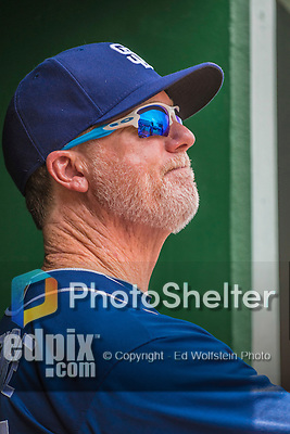 24 July 2016: San Diego Padres Bench Coach Mark McGwire stands in the dugout prior to a game against the Washington Nationals at Nationals Park in Washington, DC. The Padres defeated the Nationals 10-6 to take the rubber match of their 3-game, weekend series. Mandatory Credit: Ed Wolfstein Photo *** RAW (NEF) Image File Available ***