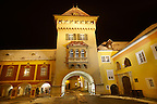 Old Town Square with the tower of the city gate at night, K?szeg  ( Korszeg ) Hungary