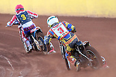 Heat 3: Mike Buman (yellow) chases David Mason - Hackney Hawks vs Team America - Speedway Challenge Meeting at Rye House - 09/04/11 - MANDATORY CREDIT: Gavin Ellis/TGSPHOTO - Self billing applies where appropriate - Tel: 0845 094 6026