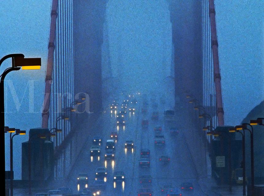 Golden Gate Bridge, San Francisco, in foggy weather. California, United States of America.