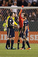 Referee Paul Ward presents Philadelphia Union forward Jack McInerney (29) a red card. The LA Galaxy defeated the Philadelphia Union 1-0 at Home Depot Center stadium in Carson, California on  April  2, 2011....