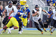 Newark, DE - October 29, 2016: Towson Tigers quarterback Ellis Knudson (8) runs the ball during game between Towson and Delware at  Delaware Stadium in Newark, DE.  (Photo by Elliott Brown/Media Images International)