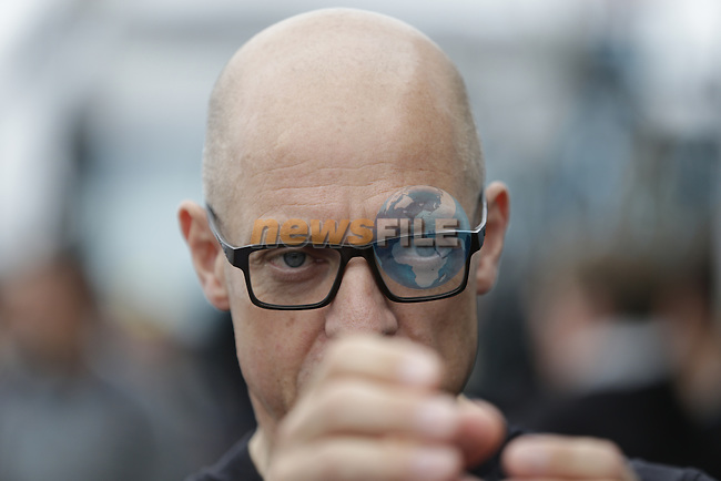 Sir Dave Brailsford Team Sky Principal outside the team bus before the start of Stage 3 of the 2016 Tour de France, running 223.5km from Granville to Angers, France . 4th July 2016.<br /> Picture: Eoin Clarke | Newsfile<br /> <br /> <br /> All photos usage must carry mandatory copyright credit (&copy; Newsfile | Eoin Clarke)