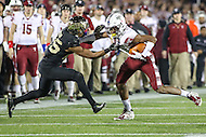 Annapolis, MD - December 27, 2016: Temple Owls wide receiver Ventell Bryant (1) tries to break Wake Forest Demon Deacons defensive back Brad Watson (25) tackle during game between Temple and Wake Forest at  Navy-Marine Corps Memorial Stadium in Annapolis, MD.   (Photo by Elliott Brown/Media Images International)