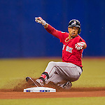 2 April 2016: Boston Red Sox outfielder Mookie Betts slides safely into second during a pre-season exhibition game against the Toronto Blue Jays at Olympic Stadium in Montreal, Quebec, Canada. The Red Sox defeated the Blue Jays 7-4 in the second of two MLB weekend games, which saw a two-game series attendance of 106,102 at the former home on the Montreal Expos. Mandatory Credit: Ed Wolfstein Photo *** RAW (NEF) Image File Available ***