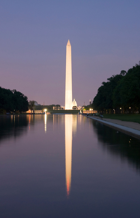 Washington DC; USA: Night photography of the icons along the Mall.  Photo of the Washington Monument and the Reflecting Pool..Photo copyright Lee Foster Photo # 19-washdc80701