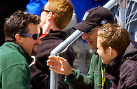 87th Indianapolis 500, Indianapolis Motor Speedway, Speedway, Indiana, USA  25 May,2003.Michael Andretti (L) talks with teamates Tony Kanaan and Dan Wheldon (R) during the driver's meeting Saturday morning..World Copyright©F.Peirce Williams 2003 .ref: Digital Image Only..F. Peirce Williams .photography.P.O.Box 455 Eaton, OH 45320.p: 317.358.7326  e: fpwp@mac.com..