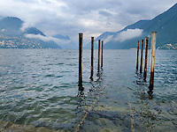 Switzerland. Canton Ticino. Lugano. View on the lake. Rusty poles. Harbour. 18.06.11 © 2011 Didier Ruef..
