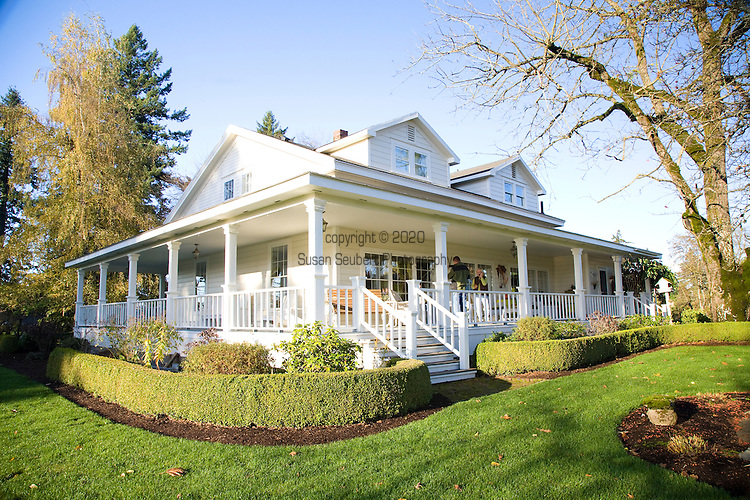 Sheryl and Dan Hall's historic Oregon City home, the White Kellogg House, an 1845 classic revival home set on 8 acres of farmland.
