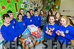 Castleisland Community College shoebox appeal. Pictured front l-r Laura Fleming, Sarah O'Sullivan Back l-r Sean O'Connell, Dawid Knurowski, Kayla Hooley, Labhaoise Walmsley, Meabh Young, Shauna Ahern, Conor O'Sullivan, Pia Thornton, Art Teacher, Aileen Murphy, TY Teacher, Doreen Killington, teacher TY Co-ordinator