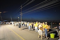 Phoenix, Arizona. June 23, 2012 - Members of the Unitarian Universalist church and community advocates gathered outside the Tent City Jail in Arizona to demand  Sheriff Joe Arpaio to shut down what they call a &quot;concentration camp&quot; and inhumane outdoor jail facility. Tent City houses inmates in canvas tents and during the summer the temperature raises significantly under the tents. About two thousand members of the Unitarian Universalists Association of Congregations arrived to Tent City to hold a candlelight vigil. Photo by Eduardo Barraza &copy; 2012