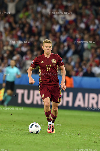 Oleg Shatov (Russia) ; <br /> June 15, 2016 - Football : Uefa Euro France 2016, Group B, Russia 1-2 Slovakia at Stade Pierre Mauroy, Lille Metropole, France.; ;(Photo by aicfoto/AFLO)
