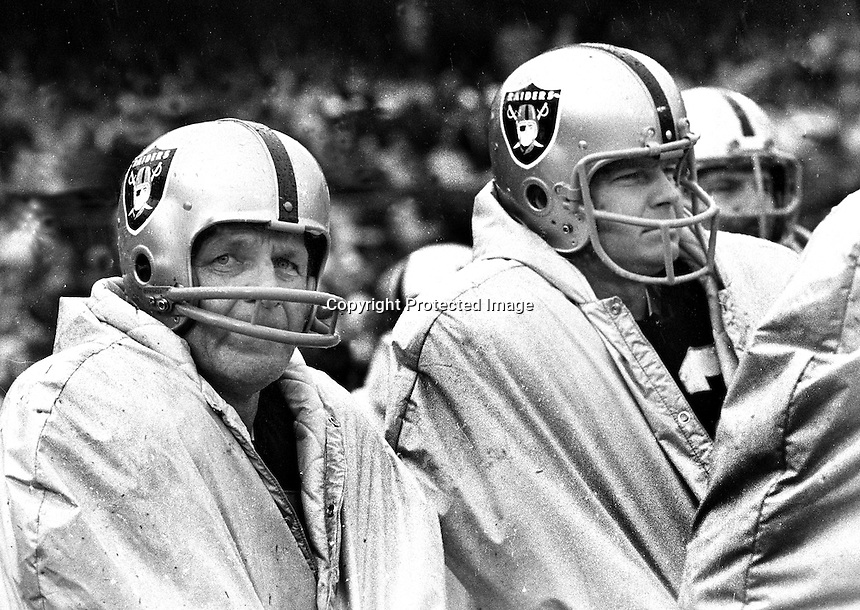 Raiders George Blanda and a young Ken Stabler on the sideline...while Daryle Lamonica is playing..(1970 photo by Ron Riesterer)