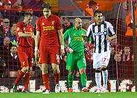 LIVERPOOL, ENGLAND - Thursday, October 4, 2012: Liverpool's goalkeeper Jose Reina looks dejected as Udinese Calcio score the winning third goal during the UEFA Europa League Group A match at Anfield. (Pic by David Rawcliffe/Propaganda)