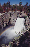 Rainbow Falls is on the same hiking trail one would take to get to the Devils Postpile formation. These sites are located in California's Sierra Nevada Mountains near Mammoth Mountain.