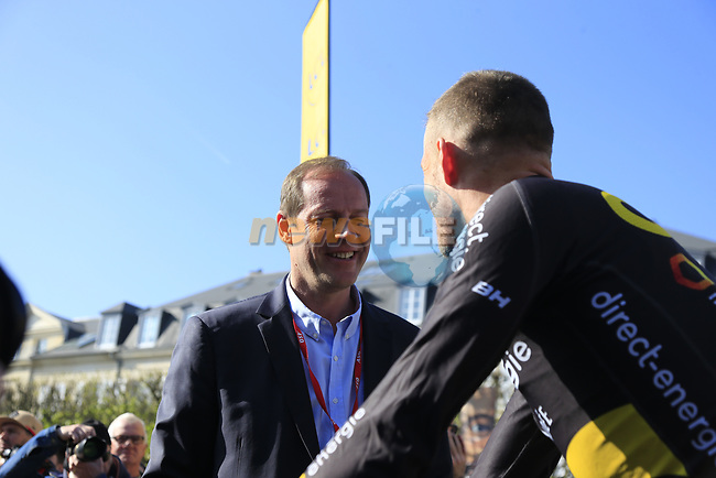 Race Director Christian Prudhomme chats to Adrien Petit (FRA) Direct Energie at sign on for the 115th edition of the Paris-Roubaix 2017 race running 257km Compiegne to Roubaix, France. 9th April 2017.<br /> Picture: Eoin Clarke | Cyclefile<br /> <br /> <br /> All photos usage must carry mandatory copyright credit (&copy; Cyclefile | Eoin Clarke)