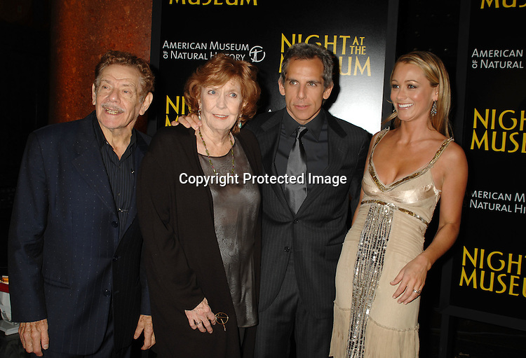 """Jerry Stiller, Anne Meara, Ben Stiller,and wife Christine Taylor..at The World Movie Premiere of """"Night At The Museum"""" and the official launch of the Natural History Museum's sleeepover program on December 17, 2006 at The American Museum of Natural History in New York...Robin Platzer, Twin Images"""