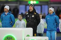 SCHAATSEN: GRONINGEN: Sportcentrum Kardinge, 17-01-2015, KPN NK Sprint, Podium 1e 500m Heren, Michel Mulder, Hein Otterspeer, Jesper Hospes, ©foto Martin de Jong
