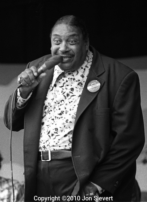 "Big Joe Turner, Sept 1974, American blues shouter from Kansas City, Missouri.[2] According to the songwriter Doc Pomus, ""Rock and roll would have never happened without him."" Although he came to his greatest fame in the 1950s with his pioneering rock and roll recordings, particularly ""Shake, Rattle and Roll"", Turner's career as a performer stretched from the 1920s into the 1980s"