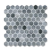 3 cm Hex, shown in polished Greystoke is part of New Ravenna's Studio Line. All mosaics in this collection are ready to ship within 48 hours.<br />