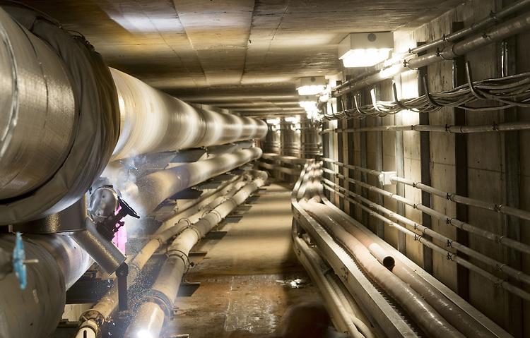 Steam tunnels near Lausche Heating Plant. Photo by Ben Siegel