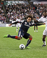 New England Revolution defender Kevin Alston (30) crosses the ball back to towards the goal.  The New England Revolution defeated Toronto FC, 4-1, at Gillette Stadium on April 10.2010