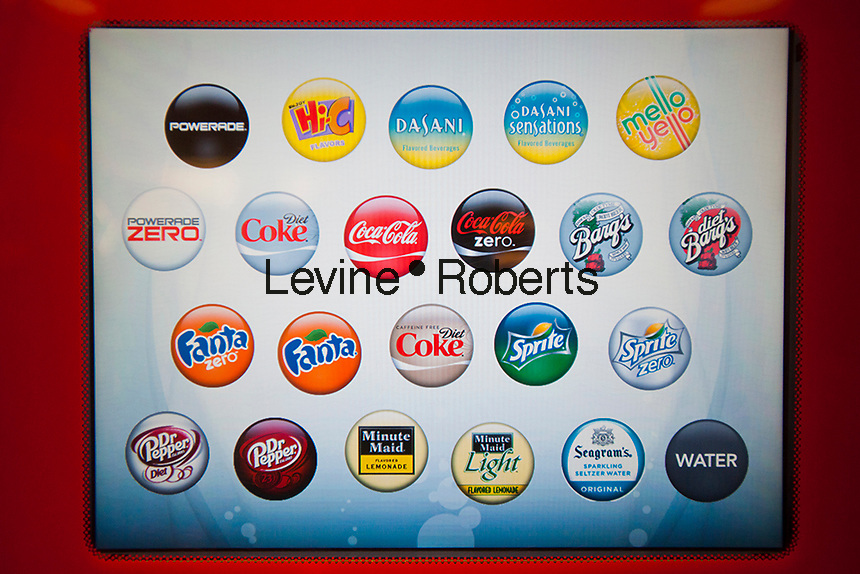 "Screen on self-service drink machine featuring Coca-Cola products at the new Steak 'n Shake Signature restaurant in New York on its grand opening day, Thursday, January 12, 2012. The popular midwest chain opened its first New York outpost with a new concept for the restaurant, a smaller footprint and counter-only service, hence their ""Signature"" branding. Founded in 1934 the company has nearly 500 restaurants with this one in New York being next to the Ed Sullivan Theatre where the Late Show with David Letterman Show is taped. © Richard B. Levine)"