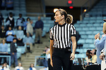 16 February 2017: Referee Dee Kantner. The University of North Carolina Tar Heels hosted the Ramblin' Wreck from Georgia Tech University at Carmichael Arena in Chapel Hill, North Carolina in a 2016-17 NCAA Division I Women's Basketball game. North Carolina won the game 89-88.